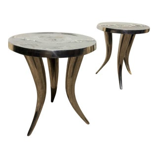 Rustic Metal Tusk Tables - A Pair For Sale