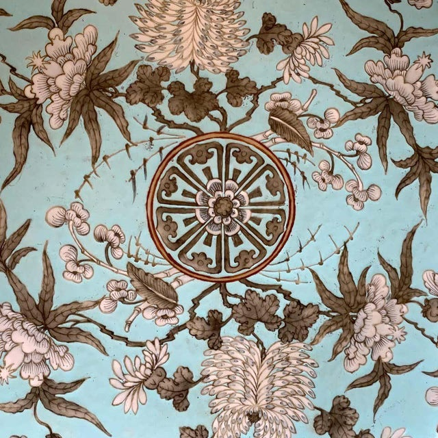 19th Century Chinese Export Powder Blue Ho Ho Bird Motif Charger For Sale - Image 10 of 12