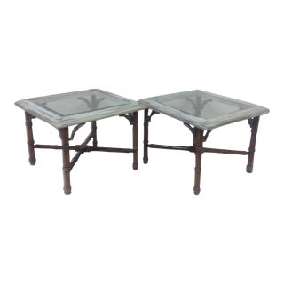 ** Mid Century Lane Faux Bamboo & Brass Tables - Pair For Sale