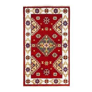 One-Of-A-Kind Traditional Hand-Knotted Area Rug, Red, 3' 1 X 5' 1 For Sale