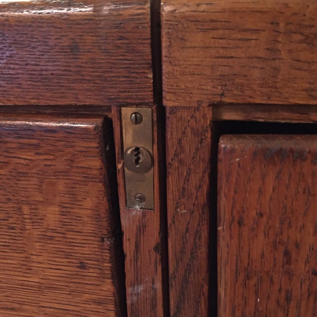 Antique Wooden Filing Cabinet With Attached Storage - Image 6 of 11