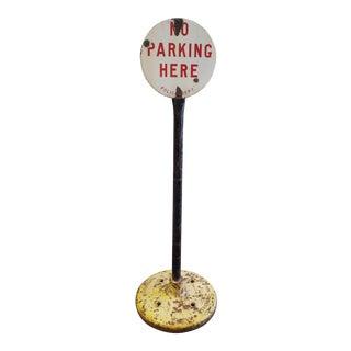 Circa 1920 Porcelain No Parking Sign by Burdick Enamel Sign Co For Sale
