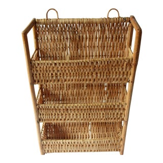 1970s Wicker and Wood Braided Wall Shelf For Sale