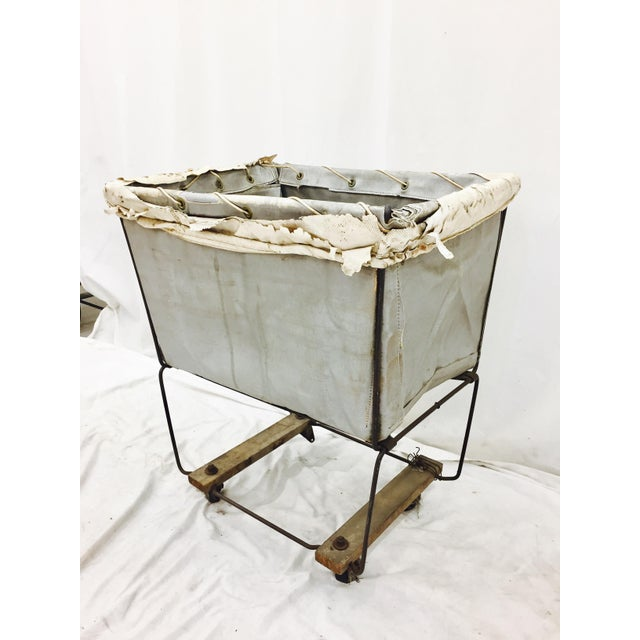 Industrial Vintage Laundry Cart Basket For Sale - Image 3 of 8