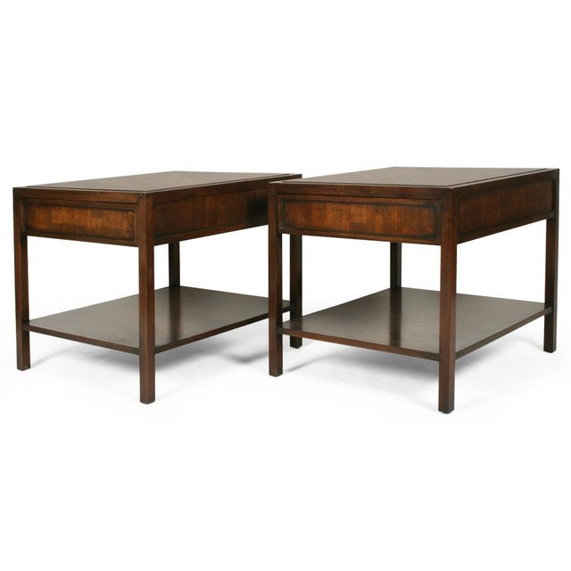 A pair of lamp end tables each comprising a single drawer with an inset parquet veneered drawer front, a rectangular...