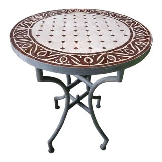 Brown & White Moroccan Mosaic Table For Sale