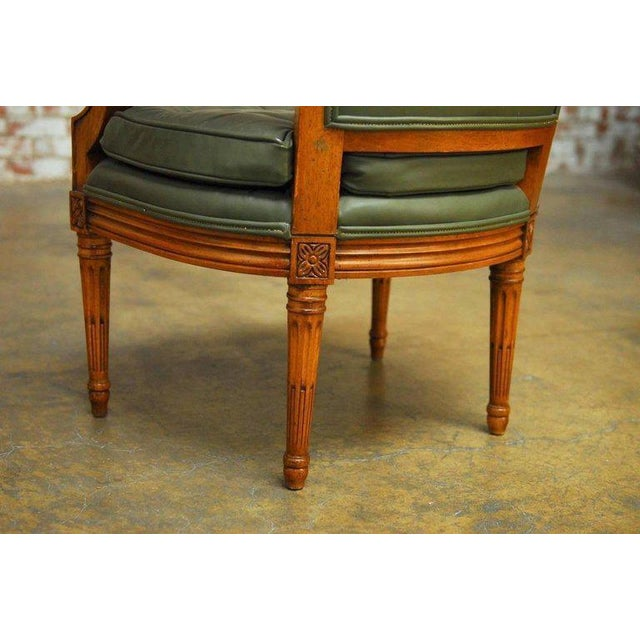 Louis XVI Style Leather Fauteuil Armchairs - A Pair - Image 9 of 10