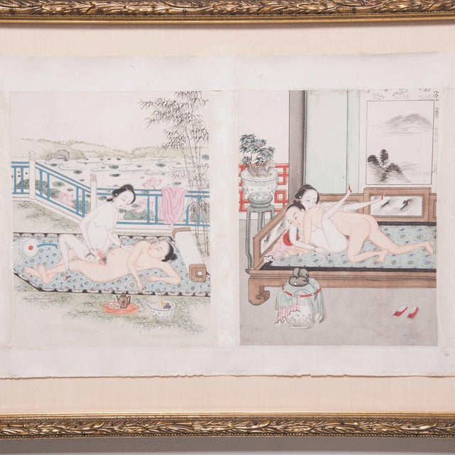 Mid 19th Century Framed 19th Century Chinese Erotic Pillow Book For Sale - Image 5 of 9