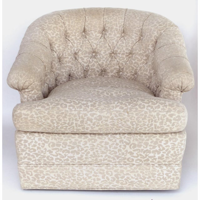 Upholstered Swivel Club Chairs with Tufted Backs, Pair Offered for sale is a pair of swivel chairs with tufted backs and...