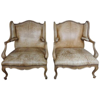 Pair of French Louis XV Style Leather Armchairs For Sale