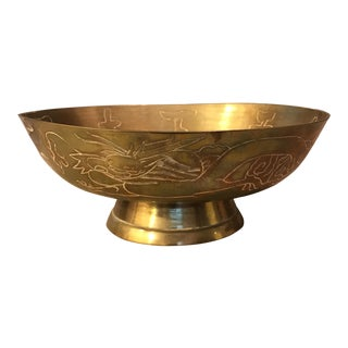 Etched Dragon Brass Chinese Decorative Bowl For Sale