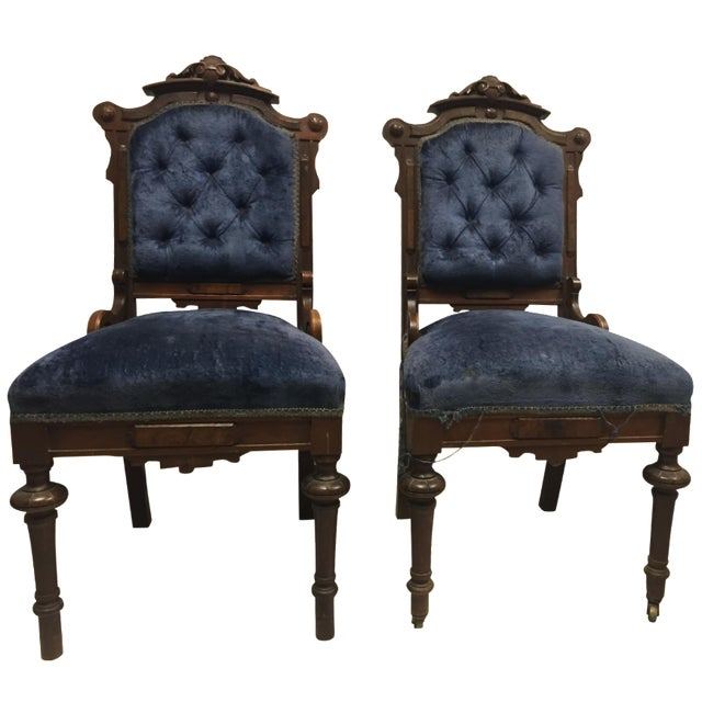 Antique Eastlake Victorian Parlor Chairs - A Pair - Image 1 of 9
