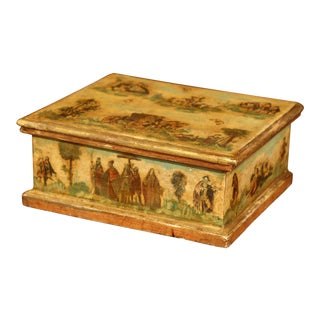 Mid-19th Century Italian Painted Decorative Box With Scenes For Sale