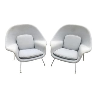 Eero Saarinen for Knoll Silver Gray Upholstered Womb Chairs