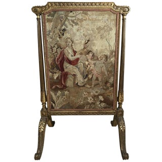 French Tapestry Fireplace Screen 19th Century For Sale