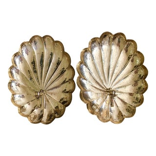 Large Palm Beach Style Brass Scalloped Candle Wall Sconces - a Pair For Sale