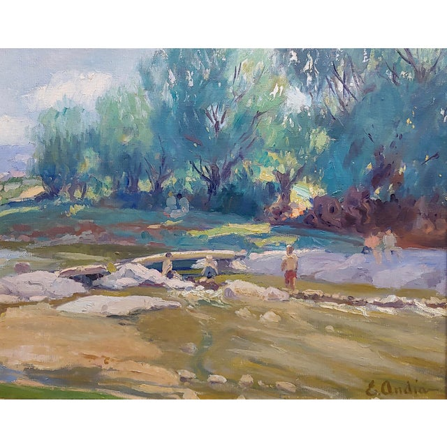 Summer at the River-California Impressionist Oil Painting-E. Andia For Sale - Image 4 of 8