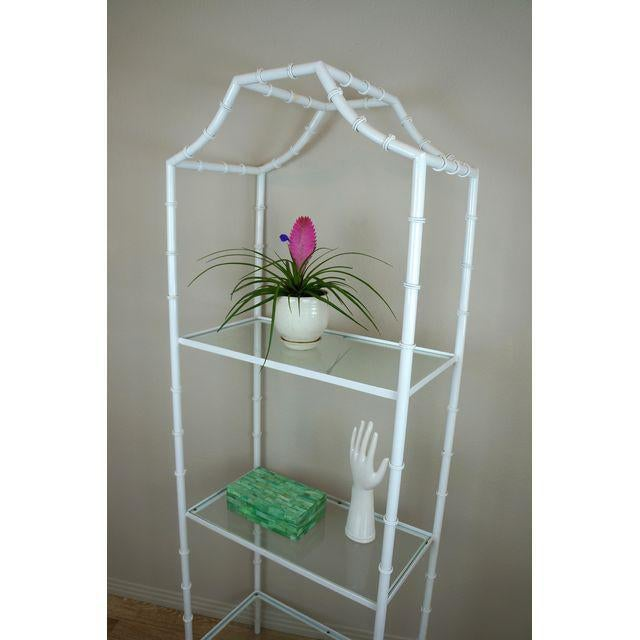 White Faux Bamboo Etagere Shelf For Sale - Image 5 of 8