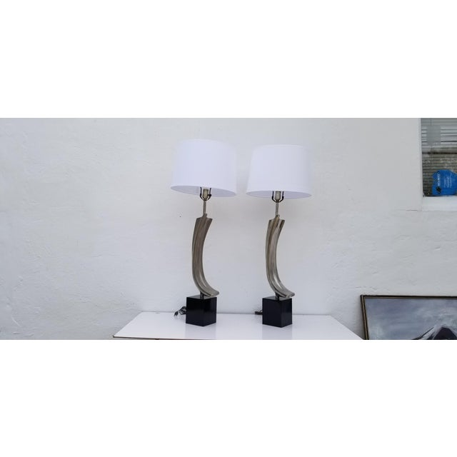Tall vintage sculptural pair of table lamps designed by Maurizio Tempestini and manufactured in the United States by...
