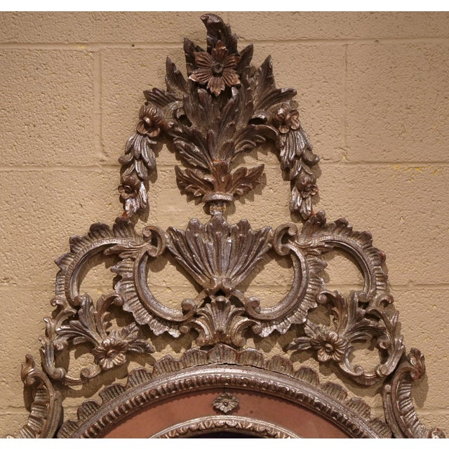 Baroque Mid-20th Century Italian Carved Silver Leaf Mirror With Painted Coral Trim For Sale - Image 3 of 8