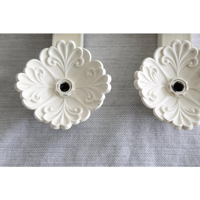 1960s Vintage White Floral Wall Lights - a Pair For Sale - Image 5 of 8