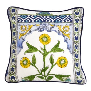 """Thibaut Indian Panel Print in Blue and Yellow 16"""" X 16"""" Pillow For Sale"""