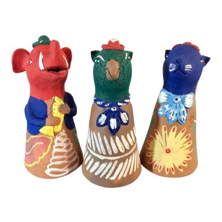 Vintage Tall Oaxaca Clay Animal Bells-Set of 3