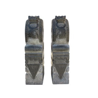 Chinese Pair Gray Black Stone Fengshui Foo Dogs Door Block Drum Statue For Sale