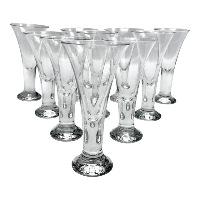 Vintage Blenko Blown Crystal Tavern Pattern Cordial or Shot Glasses - Set of 8 For Sale