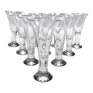 Vintage Blown Crystal Thick Stem Cordial or Shot Glasses - Set of 8 For Sale