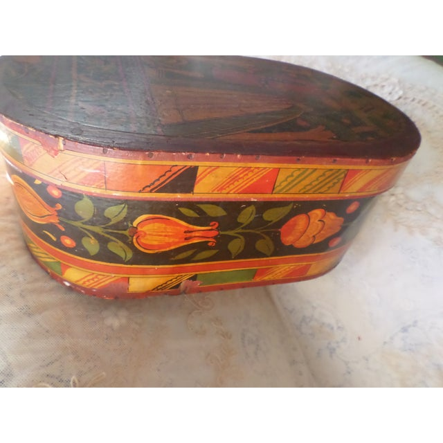 Antique Tony Sarg Nantucket Hand Painted Wooden Bride Box For Sale - Image 4 of 12