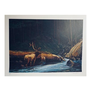 """1977 """"The Old Bull"""" Wildlife Lithograph Numbered 253/500 by Bill Elliott For Sale"""