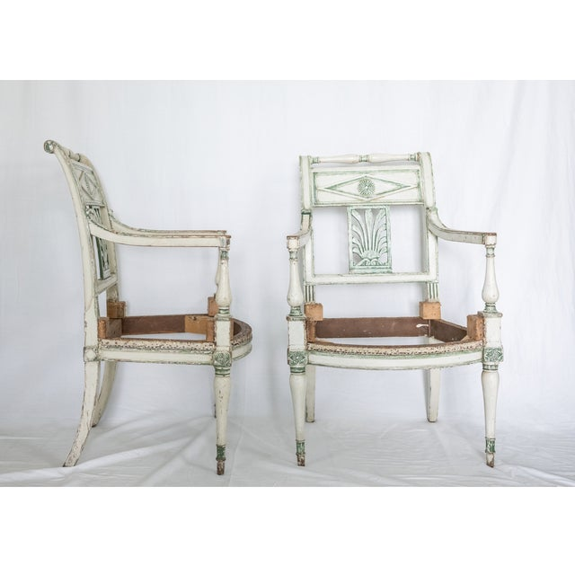 19th Century French Empire Painted Fauteuil Frames - a Pair For Sale - Image 4 of 4