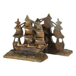 1950s Brass Pirate Ship Bookends, Pair For Sale