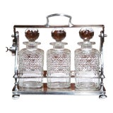 Image of 19th Century English Silver Plated 3-Carafe Tantalus With Lock Mechanism For Sale
