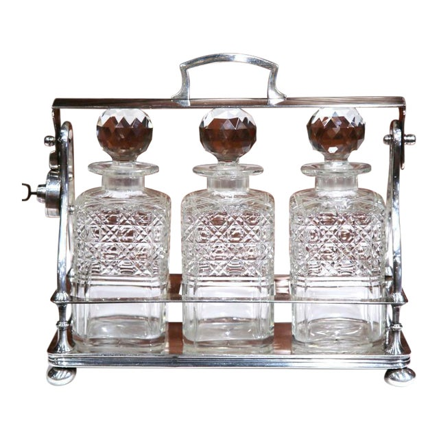 19th Century English Silver Plated 3-Carafe Tantalus With Lock Mechanism For Sale
