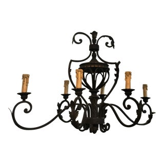 Vintage Iron Chandelier With 6 Lights and Acanthus Leaf Detail For Sale