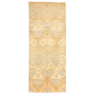 Contemporary Afghan Ikat Rug With Brown & Ivory Botanical Details For Sale