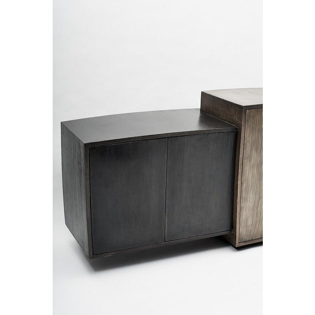 Gary Magakis, Blackened Steel Console with Grained and Mirrored Bronze, USA, 2015 For Sale - Image 9 of 10