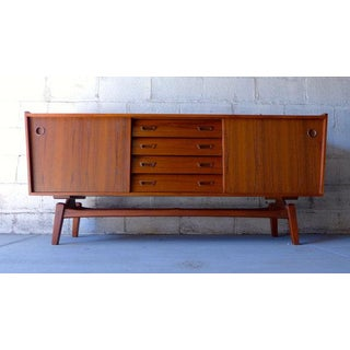 Long Mid Century Modern Teak Floating Credenza Preview