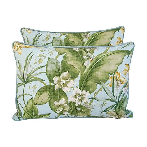 Large Tropical Linen & Velvet Pillows - Pair - Image 7 of 7