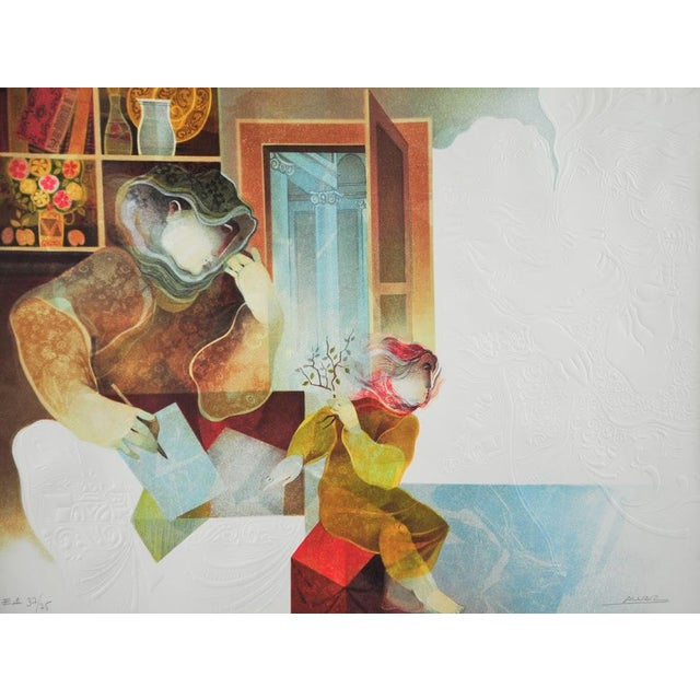 "Original Sunol Alvar Embossed Lithograph ""La Diligence and La Folie"" - Image 3 of 11"