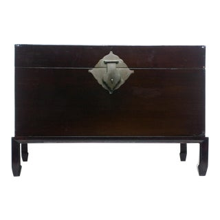 Antique Black Natural Lacquered Box on Rosewood Stand For Sale