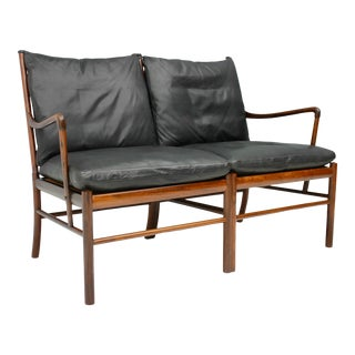 Ole Wanscher Colonial Sofa Pj 149 Poul Jeppesen, Black Leather Settee For Sale