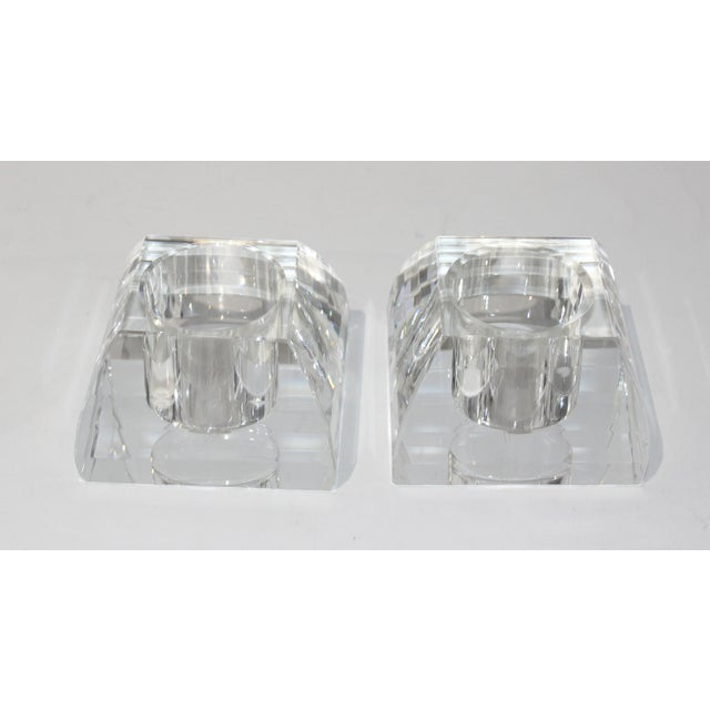 Glass Vintage Oleg Cassini Faceted Crystal Pyramid Votive Candle Holders - a Pair -With Original Gift Boxes For Sale - Image 7 of 10