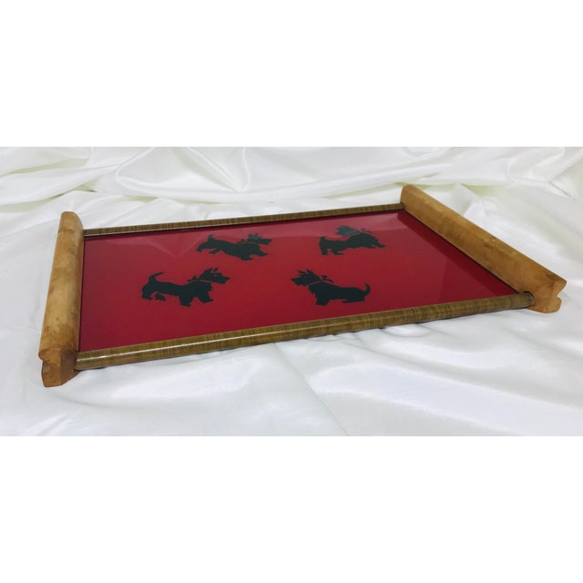 Fun retro mid-Century modern tray in wood, metal and glass featuring Scottish Terriers.