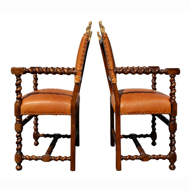 Pair of Italian Baroque Walnut Armchairs For Sale - Image 10 of 13