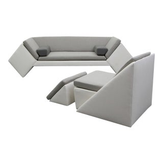 Post Modern Geometric Sofa and Chair With Ottoman Set by Thayer Coggin