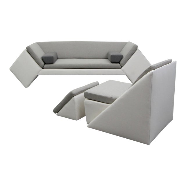 Post Modern Geometric Sofa and Chair With Ottoman Set by Thayer Coggin For Sale
