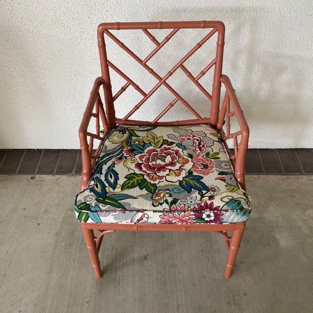 Vintage chinoisere chair with a funky seat. Great bold color for a modern punch.